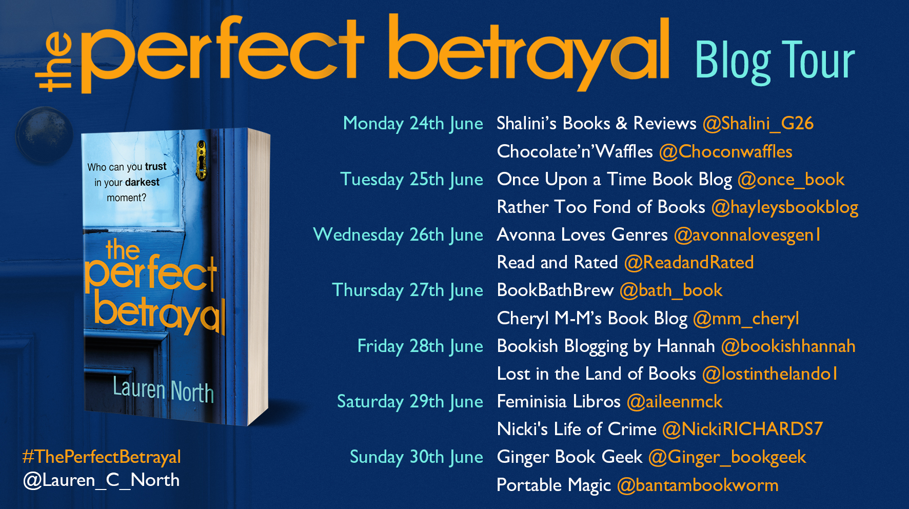 Perfect Betrayal Blog Tour poster for PB